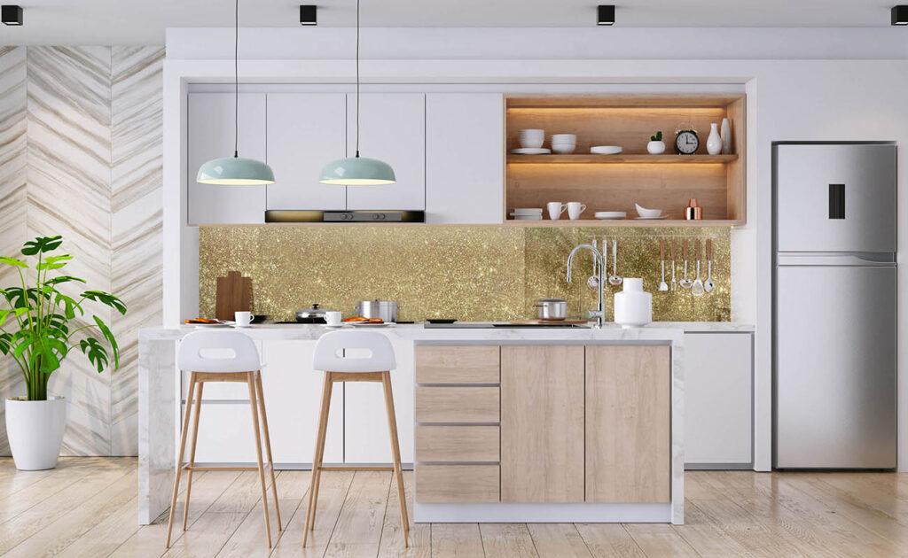 Kitchen Splashback Glitter Print Glass Worktops Mirrors gold