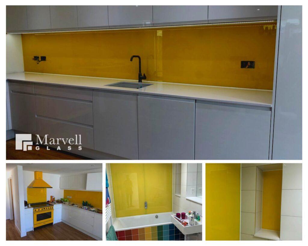 Yellow Coloured Glass Splashback